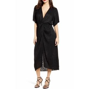 All In Favor Dolman Plisse Knot Midi Dress